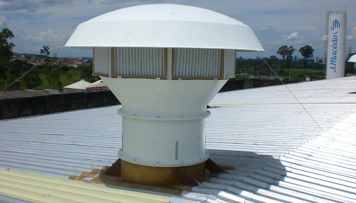 Caixa Filtro de Ar TecVent exaustor axial de telhado.